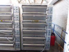 134cm Wide x 120cm deep x 220cm tall Tom Chandley Ovens Compacta 6 deck baking oven, each deck takes