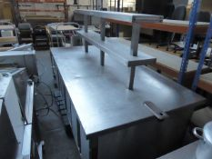 (501) 240cm wide x 120cm deep bespoke built stainless steel island for food preparation with 2