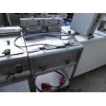60cm electric Lincat 2-well fryer with baskets on stand