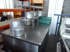 (502) 190cm wide x 120cm deep bespoke built stainless steel island for food preparation with 2