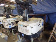 Towerlight Super Light VB-9 diesel engine telescopic lighting rig on single axle plant trailer (