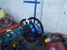 Blue trolley with strapping reel and strap