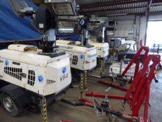 Towerlight Super Light VT1 diesel engine telescopic lighting rig on single axle plant trailer (