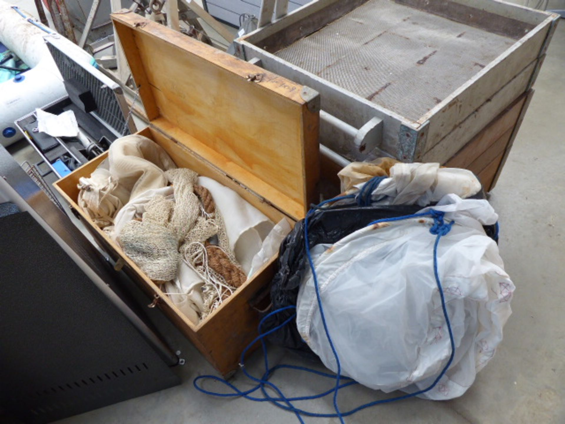 Lot 4168 - Box of miscellaneous nets including marine plankton drop nets comprising bean trawl net, with frame,