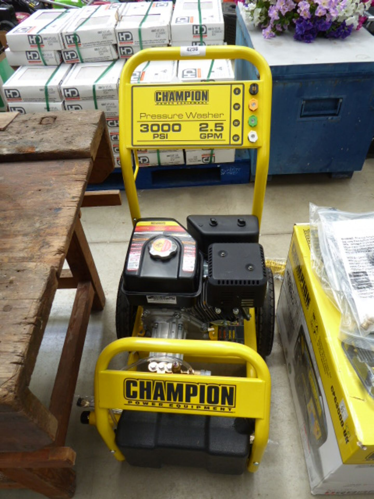 Lot 4298 - Champion petrol powered pressure washer with hose no lance