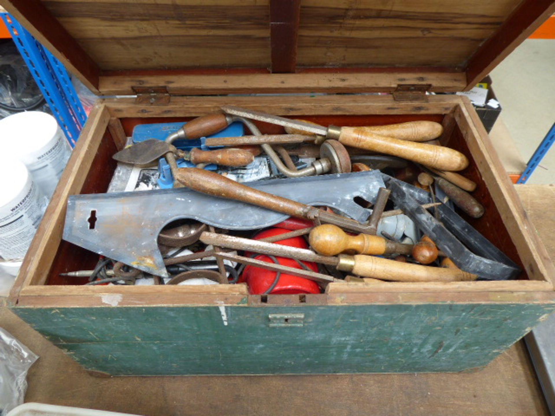 Lot 4319 - Wooden toolbox containing large quantity of vintage tools inc, chisels, hammers, soldering irons,