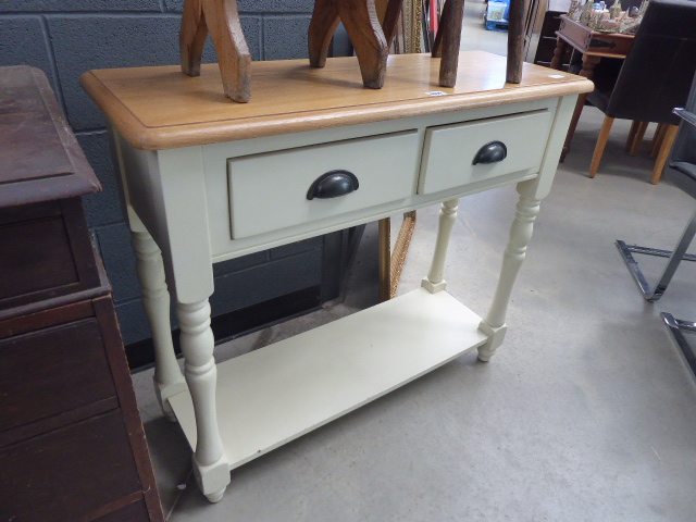 Lot 5014 - Oak topped and painted sidetable with 2 drawers