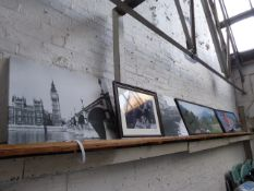 2 large framed and glazed colour prints of Italian scenes plus 3 black and white