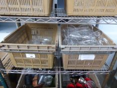 2 plastic stacking trays of assorted glassware