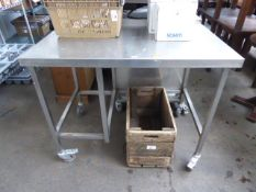 115cm stainless steel preparation table on castors