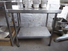 A 90cm stainless steel preparation table