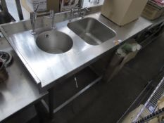 165cm stainless steel preparation station with single bowl sink, hand basin and associated tap sets