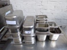 9 1/3 size stainless steel gastronorms plus assorted perforated and smaller gastronorms