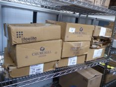 9 boxes of Churchill and Steelite white plates - assorted shapes