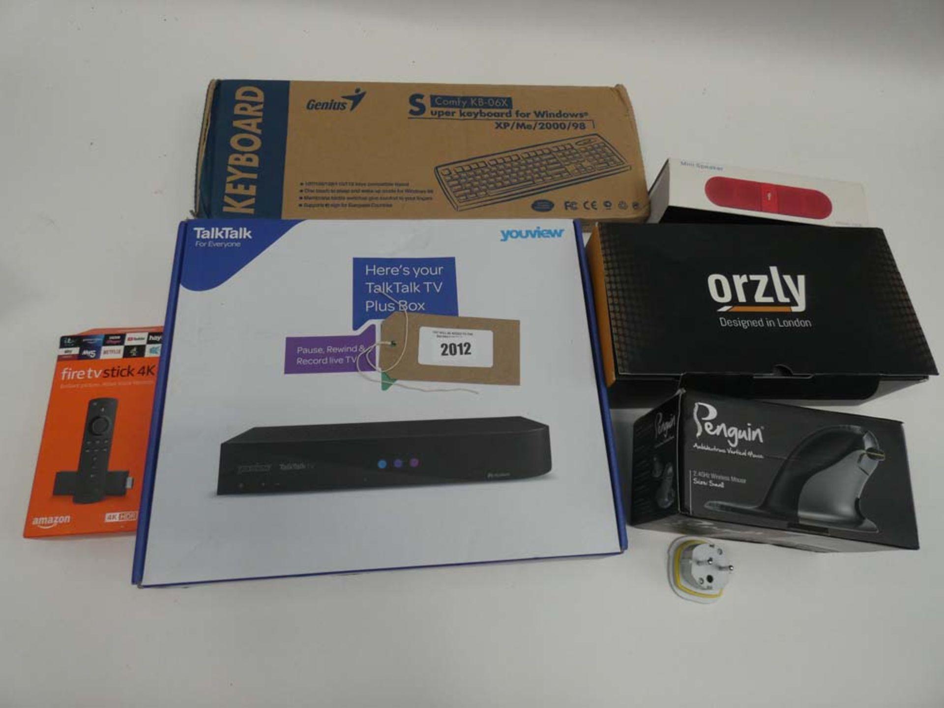 Lot 2012 - TalkTalk TV plus box, Amazon Fire TV stick, keyboard, Orzly Switch case, wireless speaker and