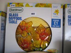 Boxed glass daffodil bird table