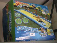 Boxed super slip and slide water slide