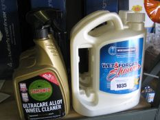 2 tubs of Wet and Forget weekly shower spray with 3 tubs of ultra care alloy wheel cleaner