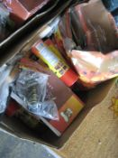 Box containing mixed BBQ accessories incl. lava rocks, BBQ seasoning spray, cleaning accessories,