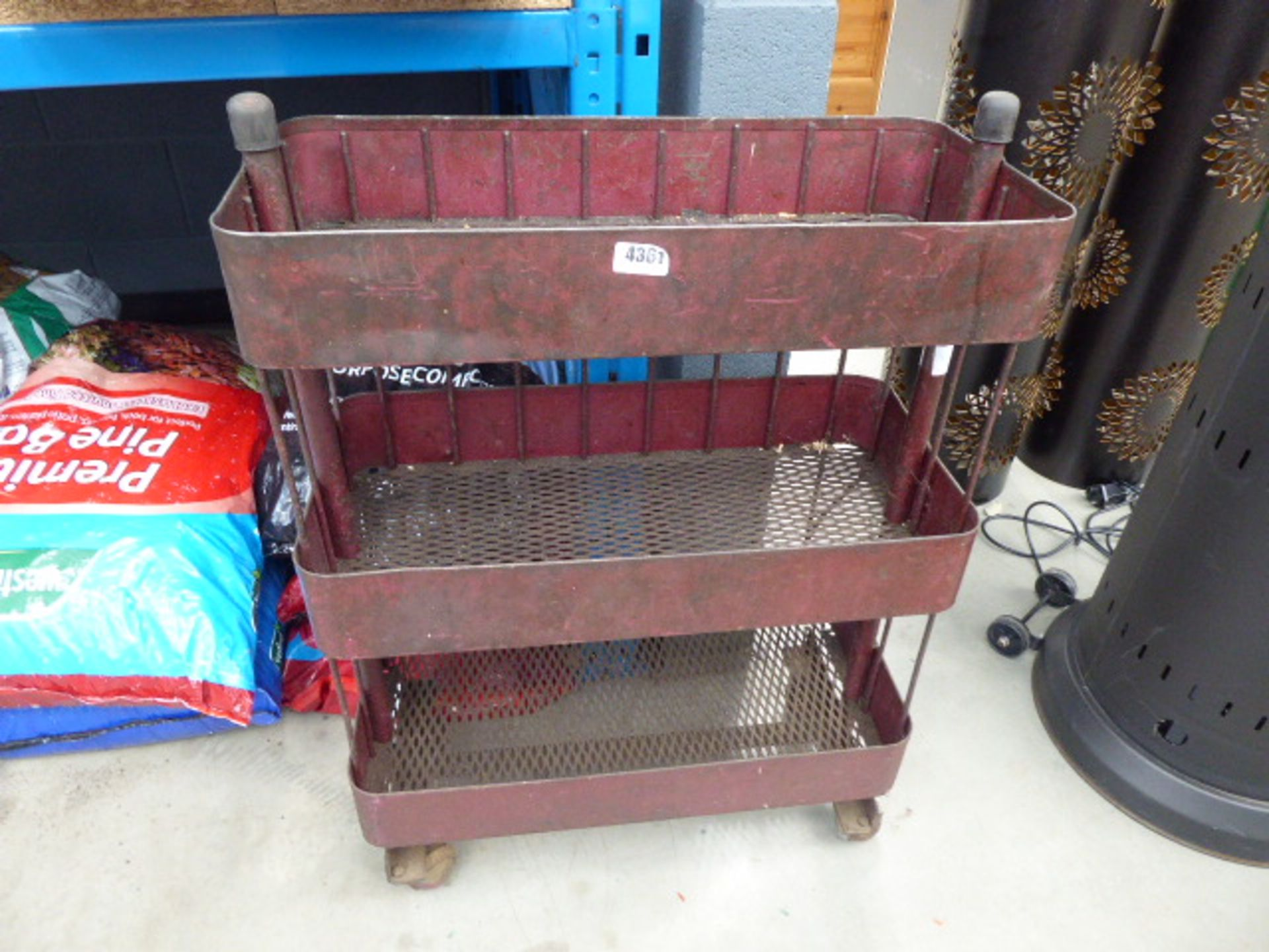 Lot 4361 - Wheeled vintage parts trolley