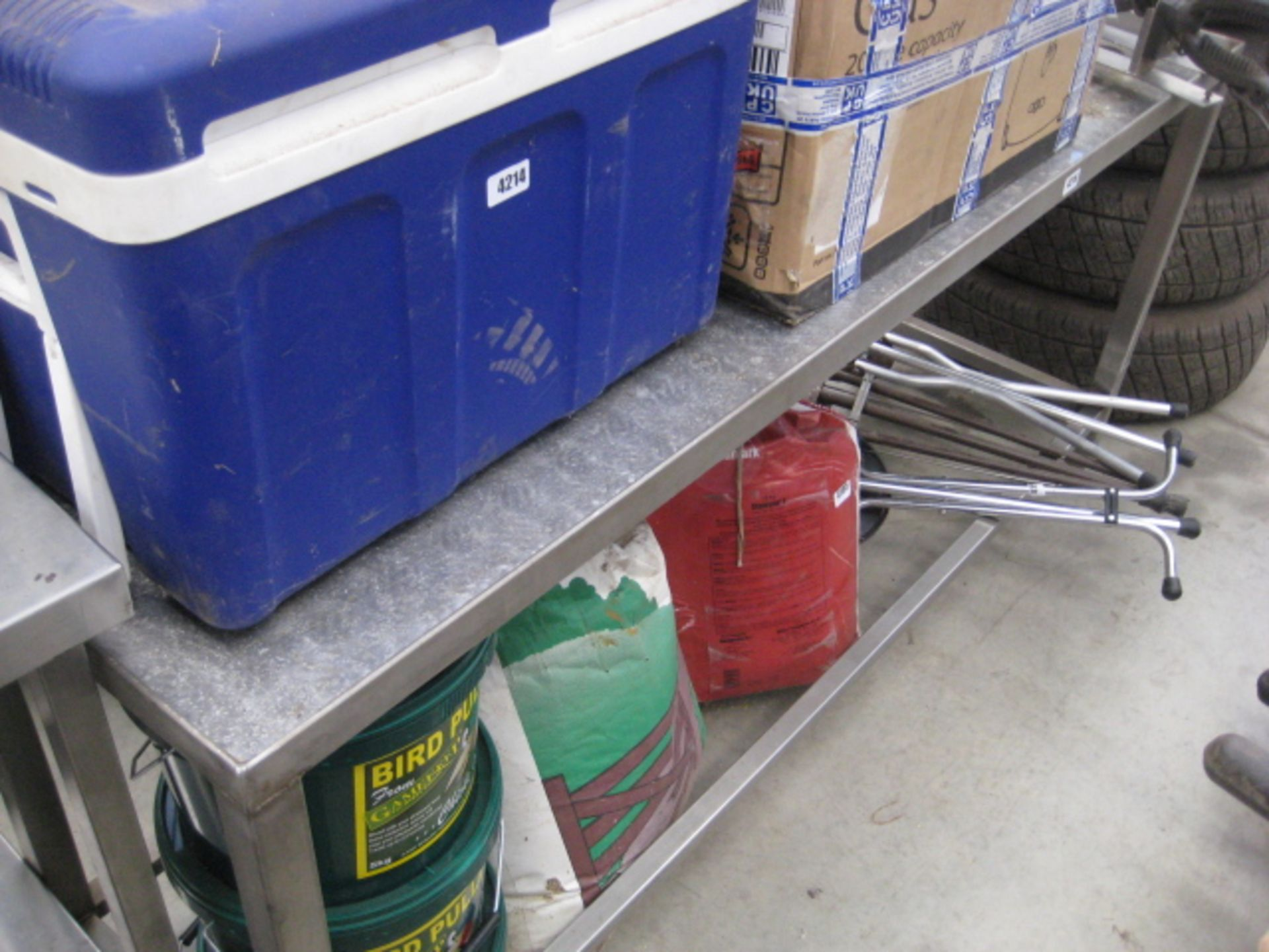 Lot 4216 - Steel preparation table with checkerplate top