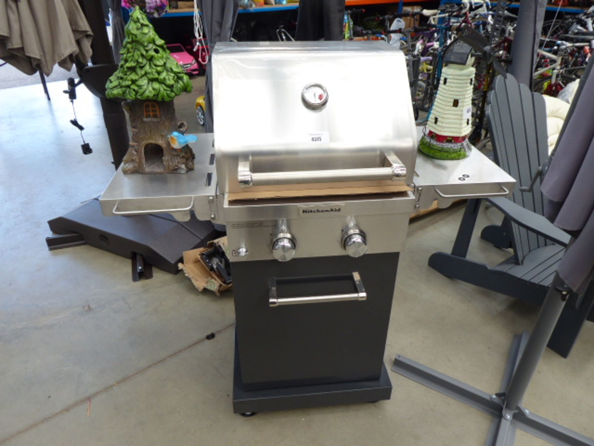 Lot 4375 - Kitchen aid stainless steel 2 burner gas BBQ