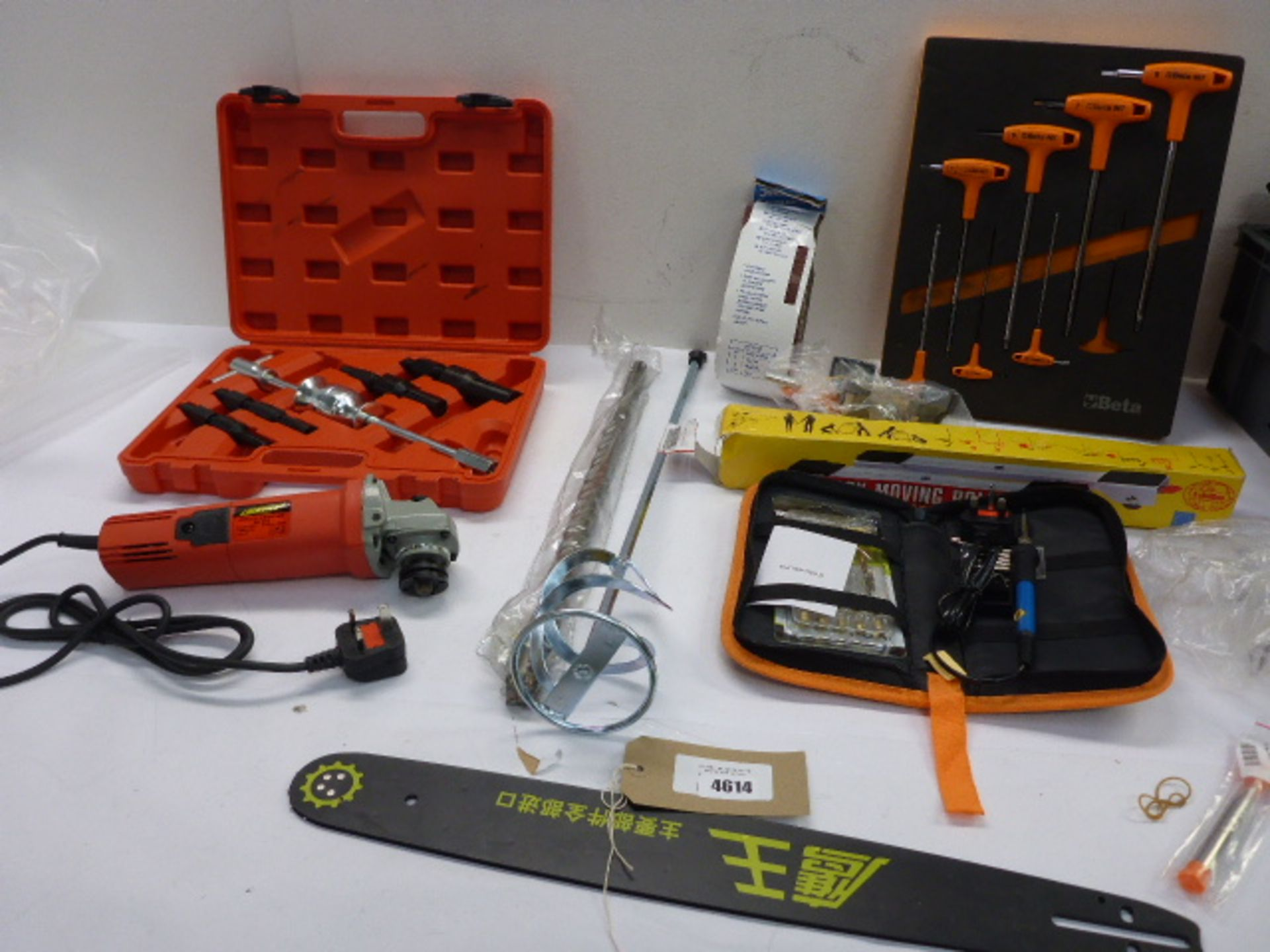 Lot 4614 - Beta Hex key set, angle grinder, plaster paddle, drill bit, soldering iron, moving easy wheels,
