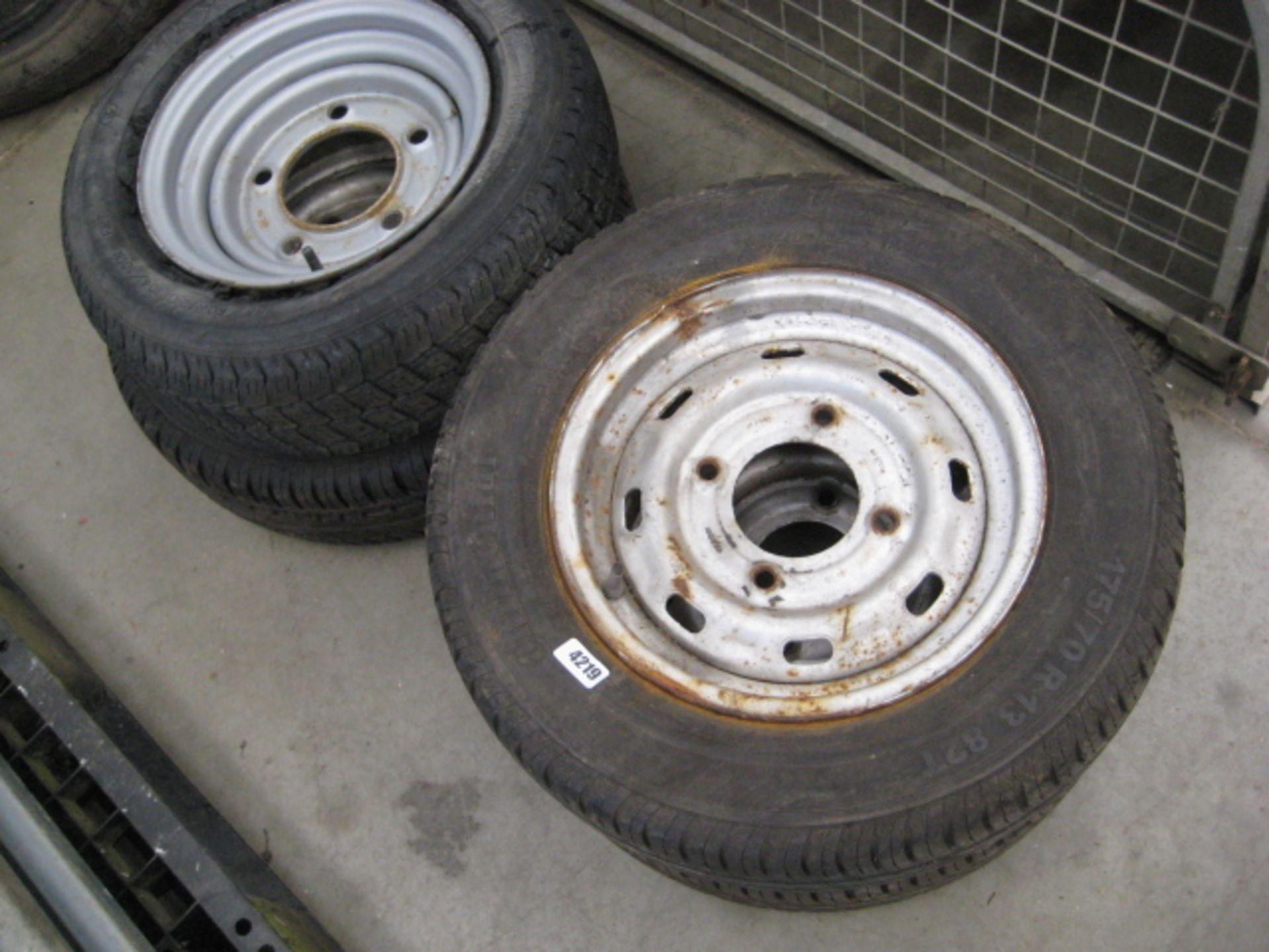 Lot 4219 - 4 various trailer wheels and tyres