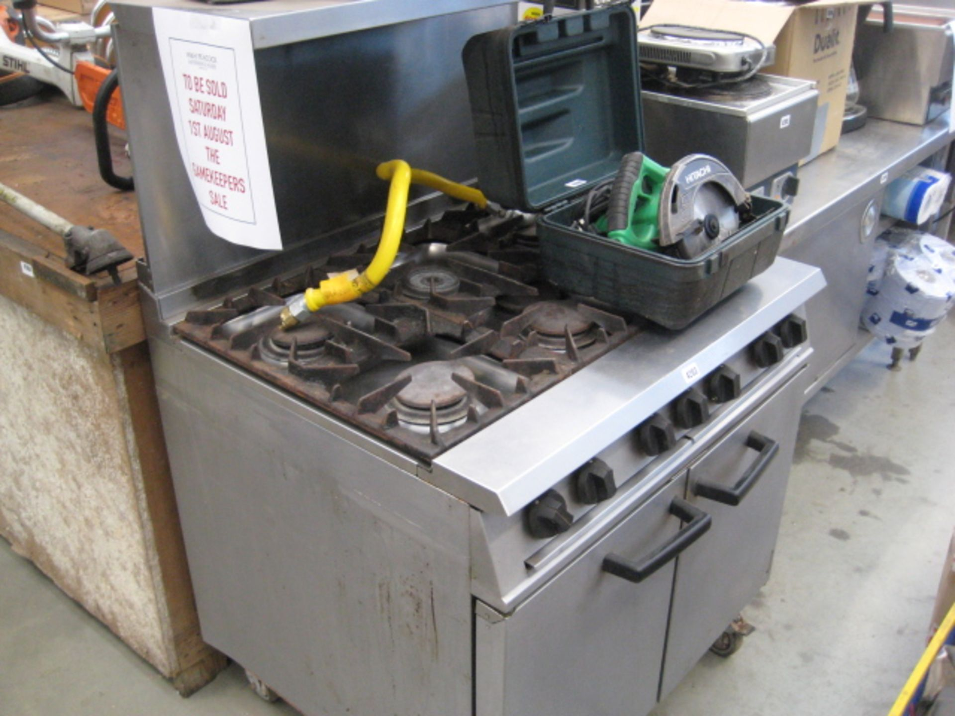 Lot 4203 - Falcon double door gas oven with 6 burner hob