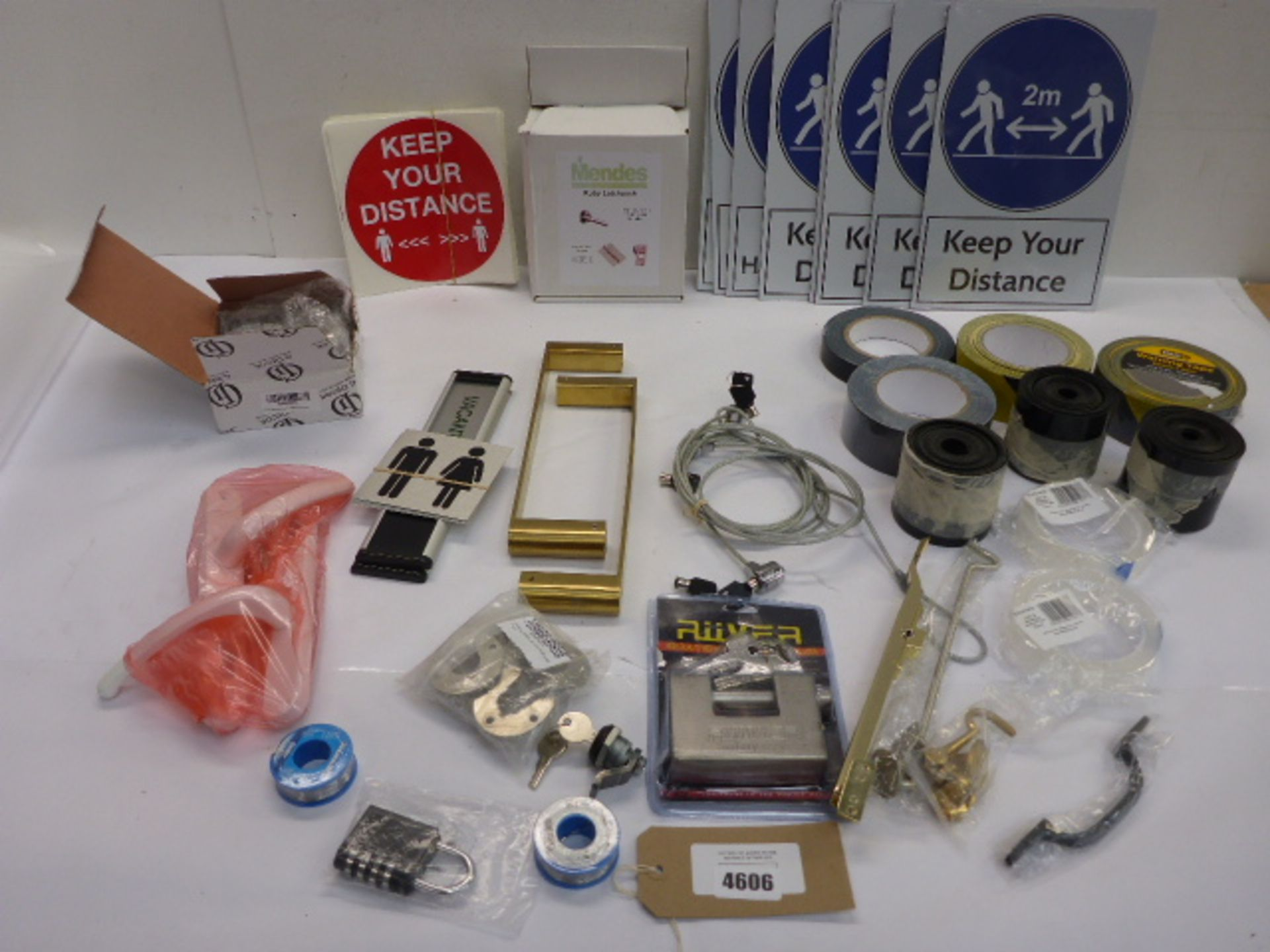 Lot 4606 - Keep Your 2m Distance signs, locks, solder wire, adhesive tapes, drawer knobs etc