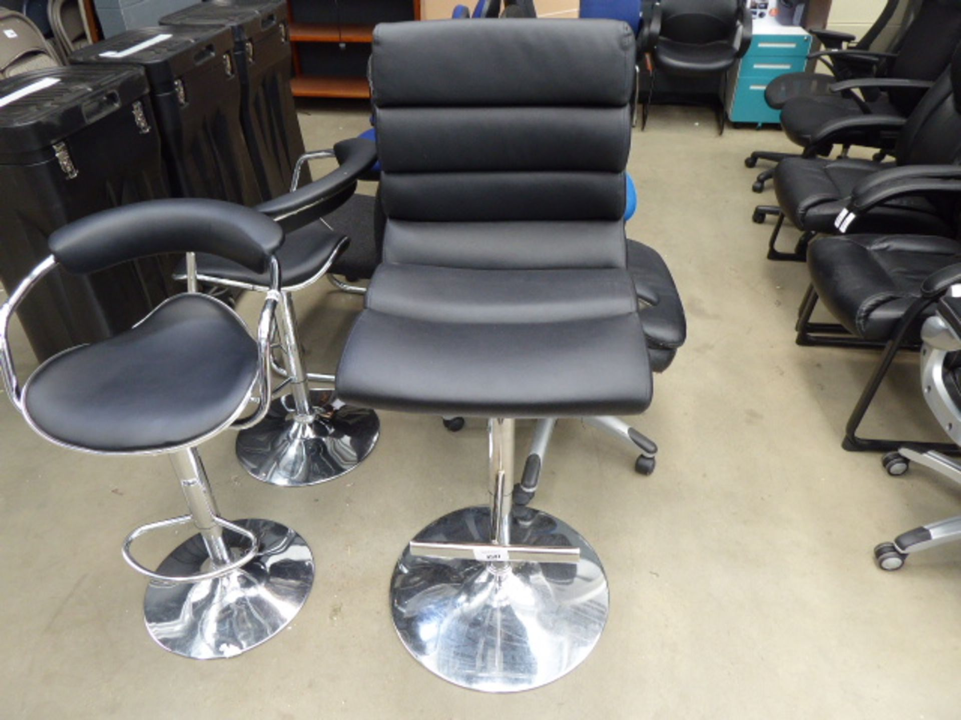 Lot 4597 - Black highback chrome base barstool