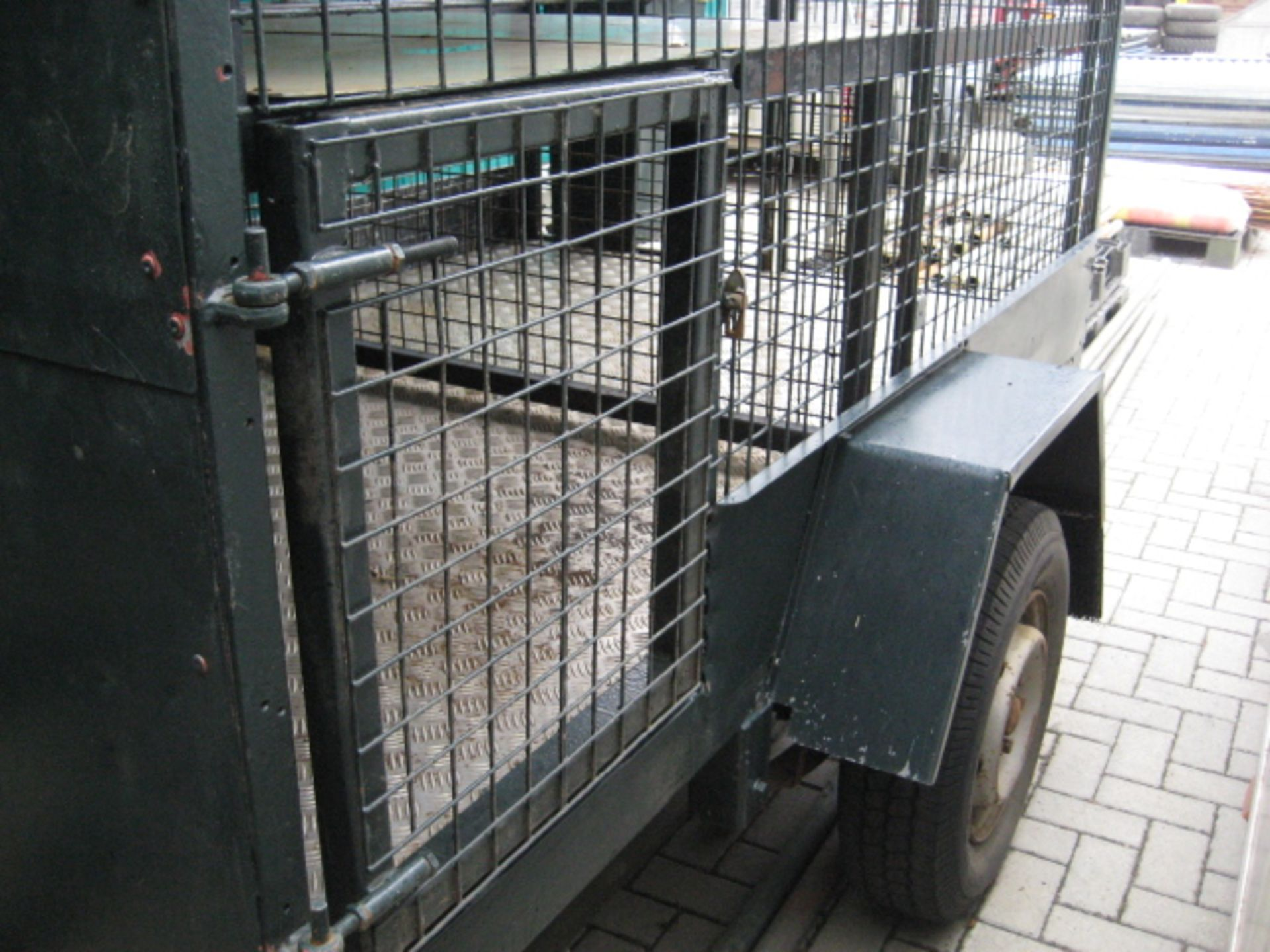 Lot 4129 - Purpose built 8' x 5' (approx.) single axle soft sprung Game trailer, integrated Dog box and spent