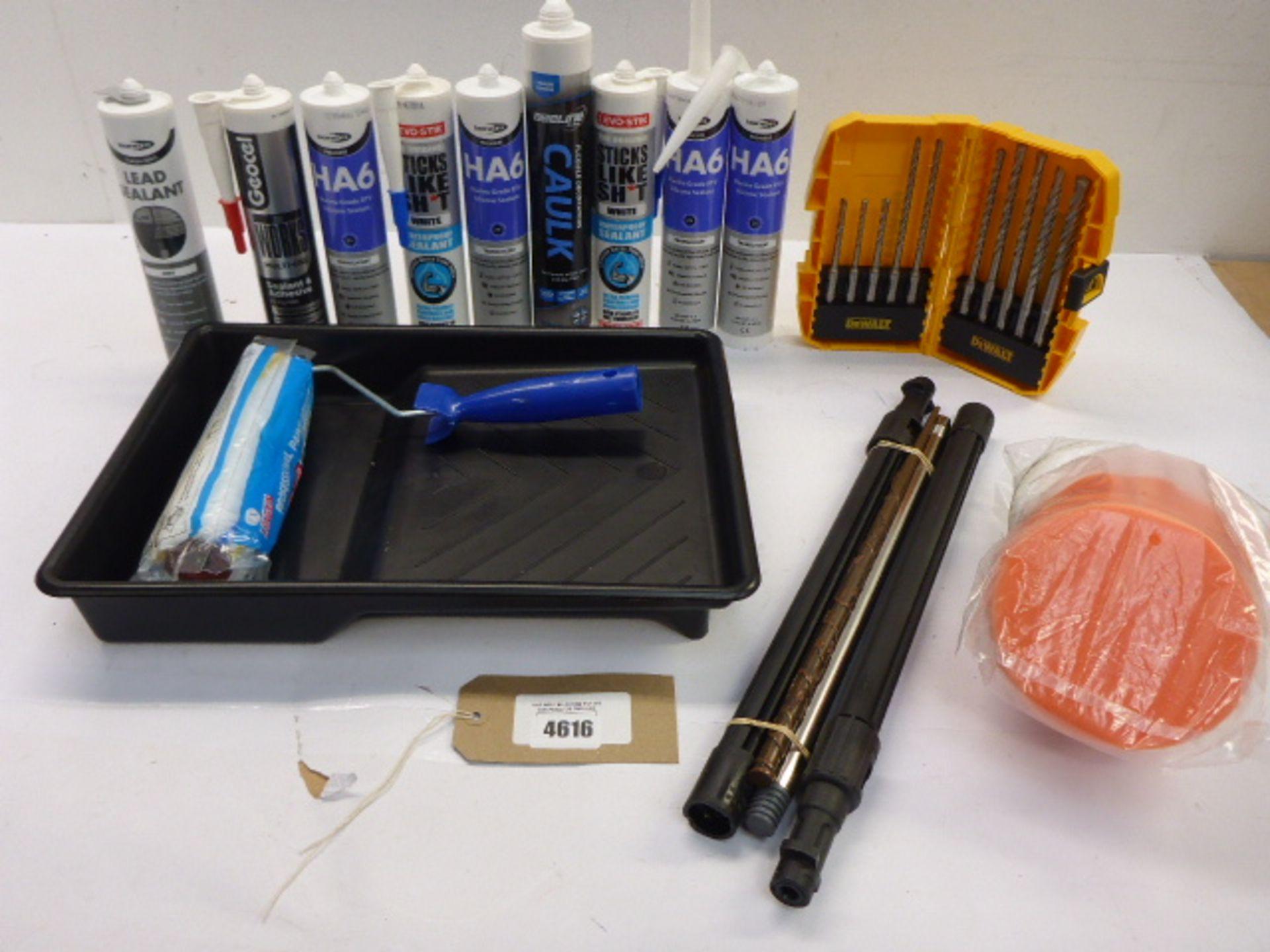 Lot 4616 - DeWalt drill bit set, Silicone sealants, Caulk, Lead sealant, paint roller & tray, Karcher