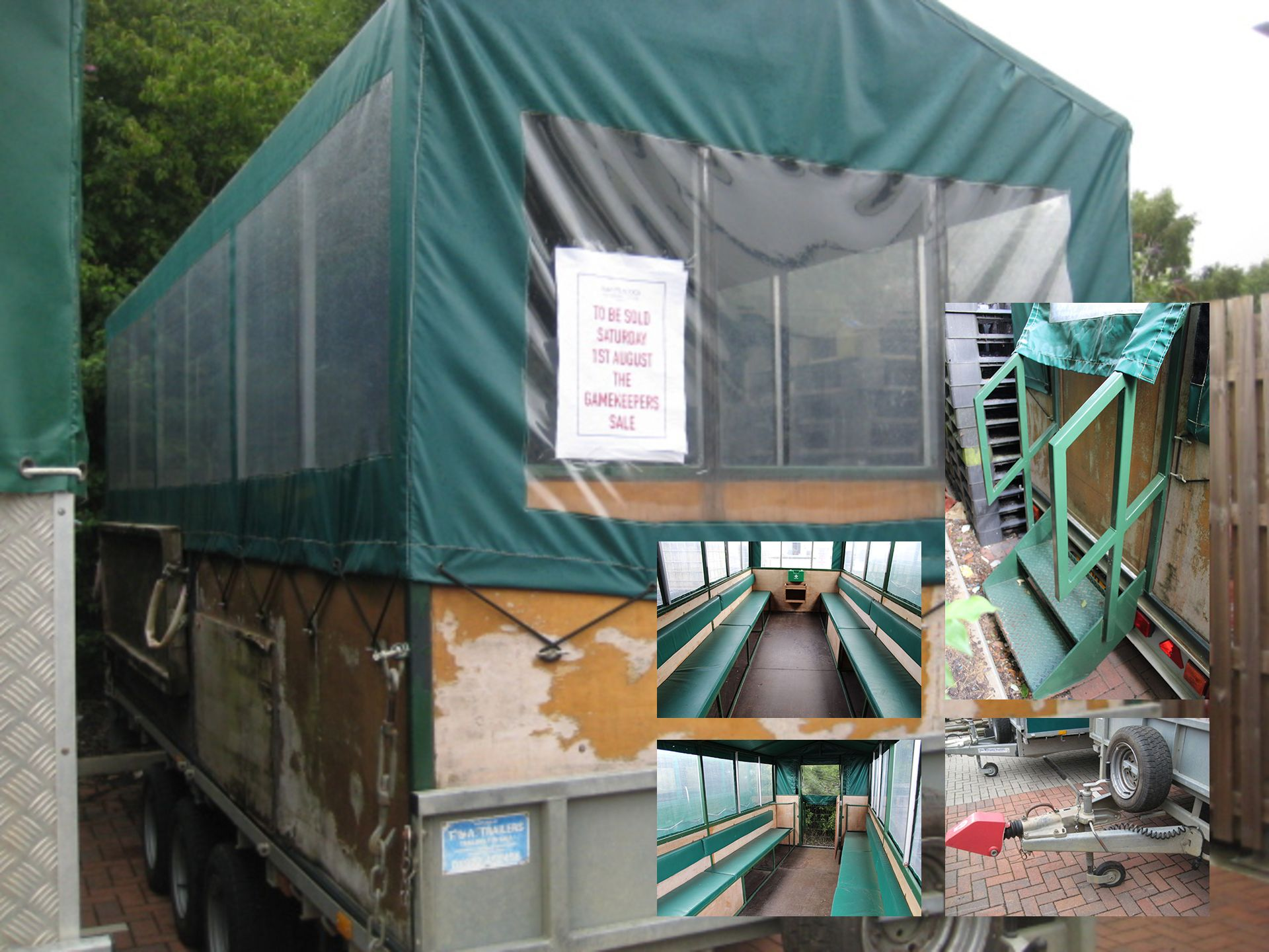 Lot 4123 - Ifor Williams LM166 tri-axle Beater's trailer, with interior bench seating, removable cover, first