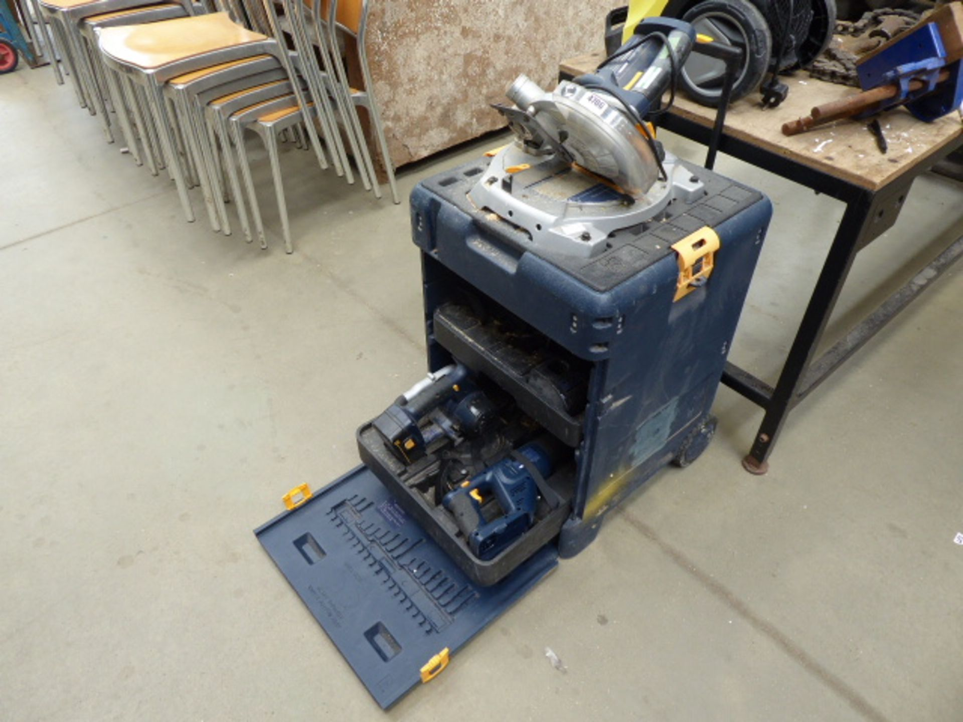 Lot 4706 - Ryobi compound mitre saw complete with jigsaw, battery drill, reciprocating saw, circular saw, one