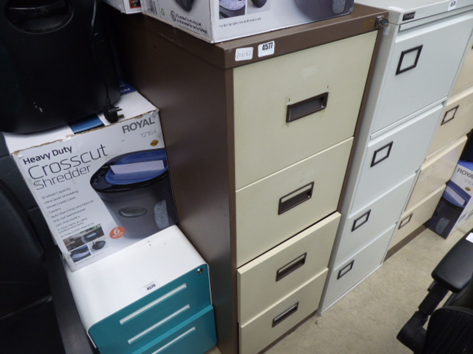 Lot 4577 - 4329 - Coffee and cream metal filing cabinet