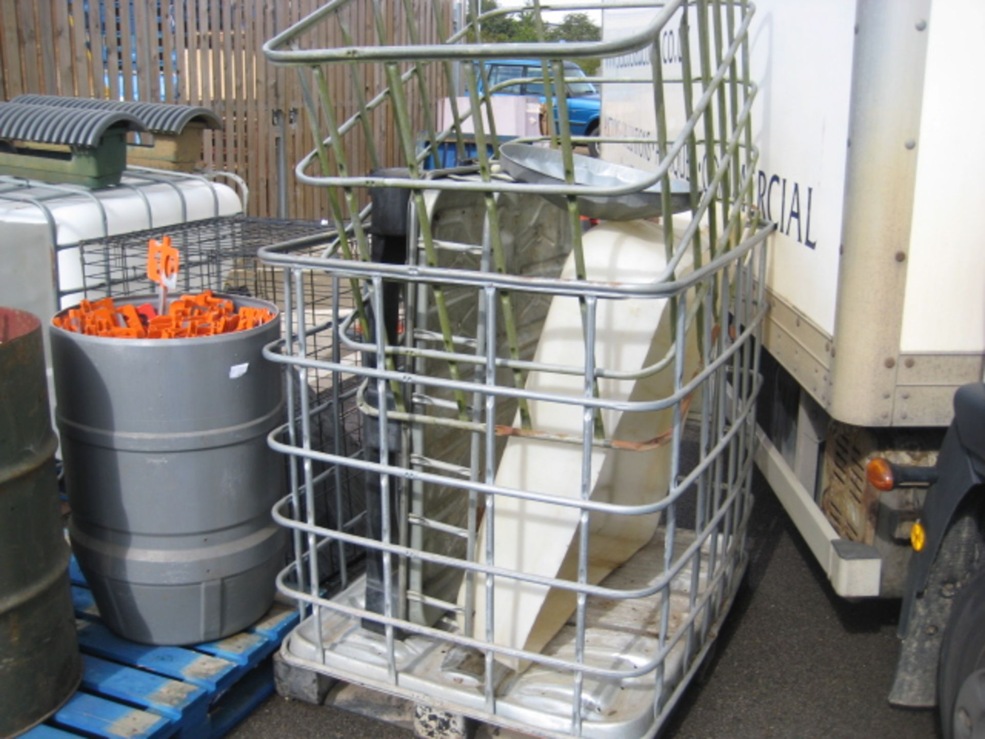Lot 4102 - IBC water container (top cut away) together with 2 part IBC cages, etc