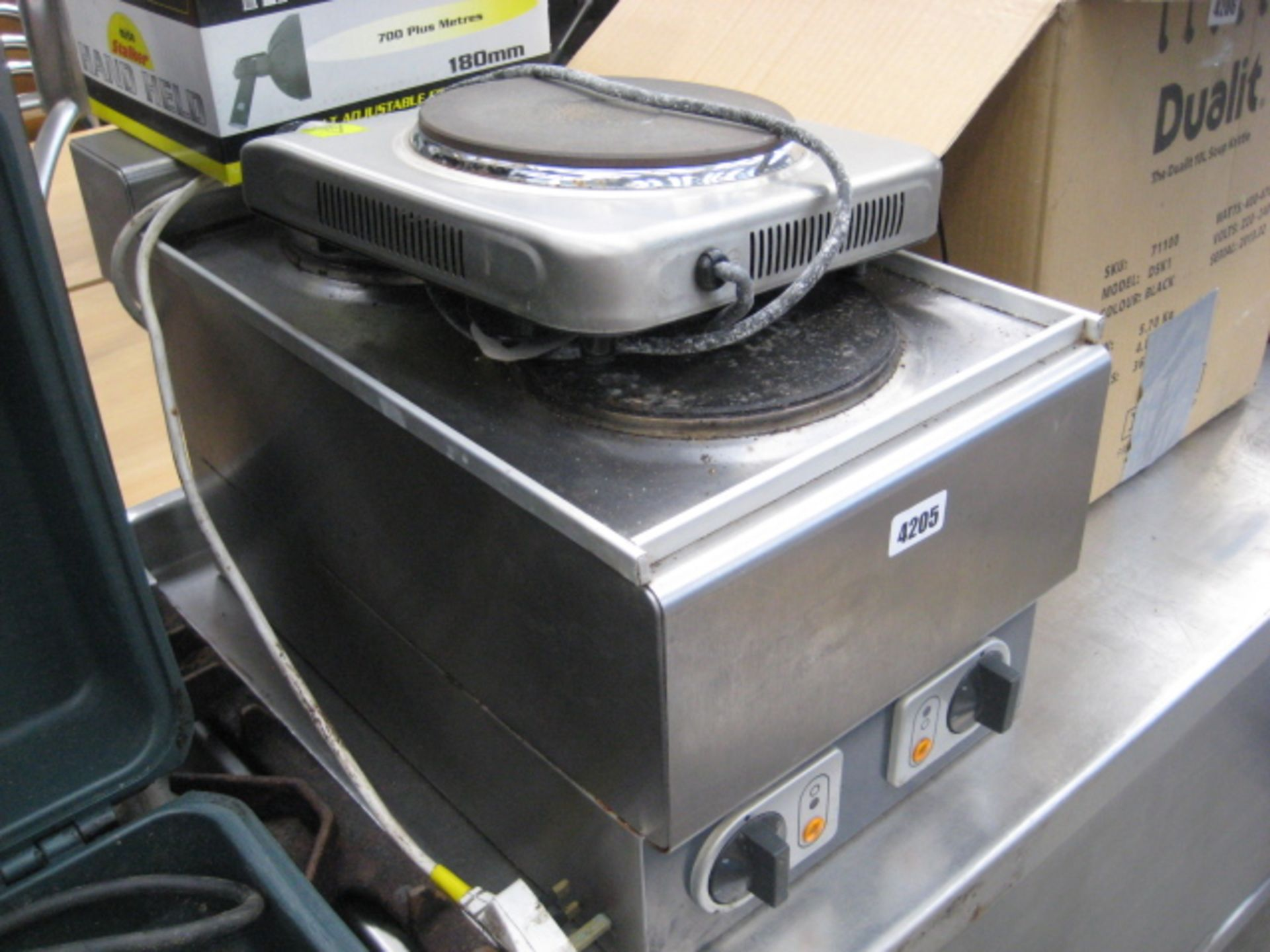 Lot 4205 - 240 volt 2 ring hot plate plus another single ring hot plate