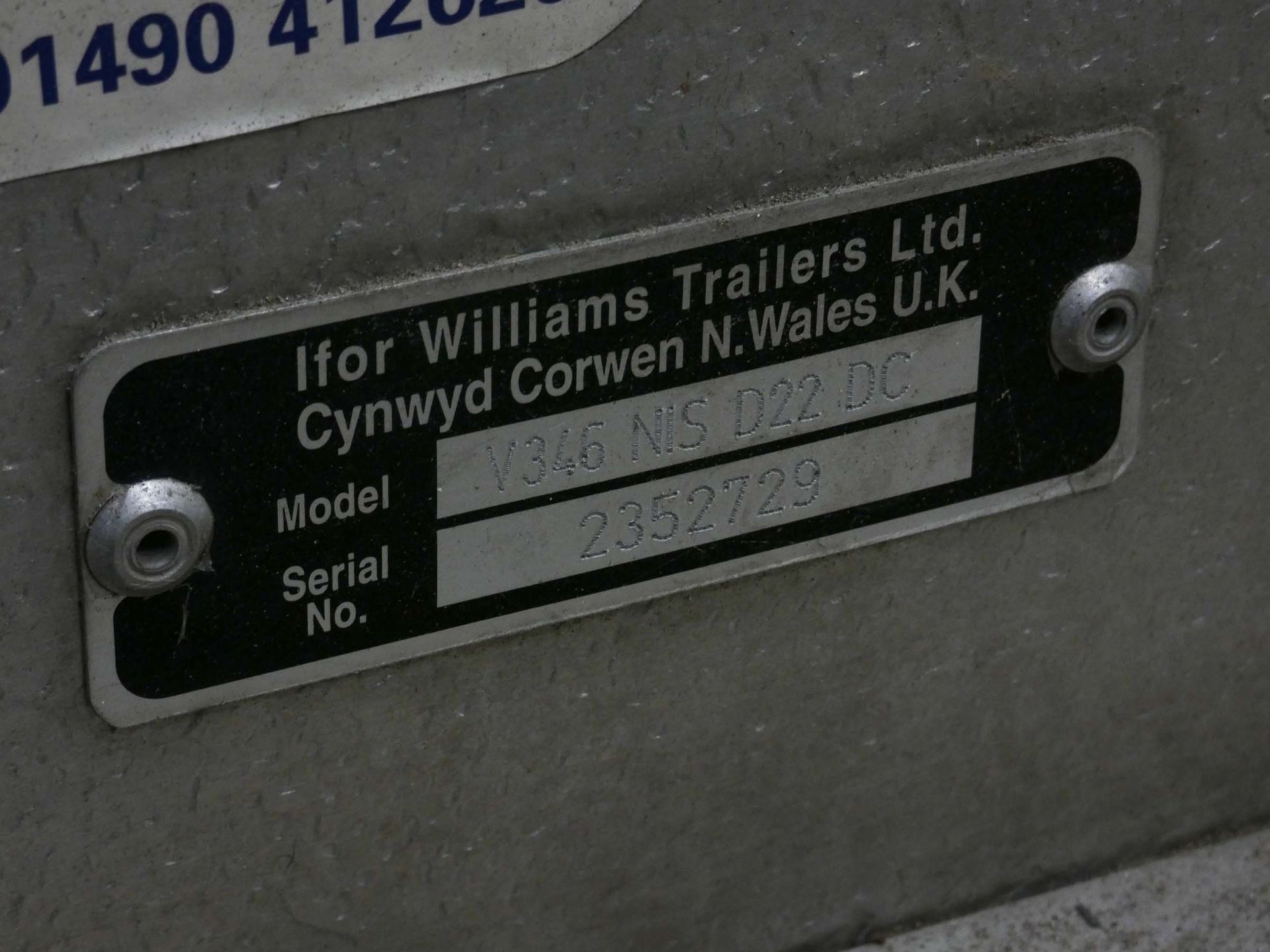 Lot 4151 - Ifor Williams truck canopy, Model V346 NIS D22DC Serial # 2352729