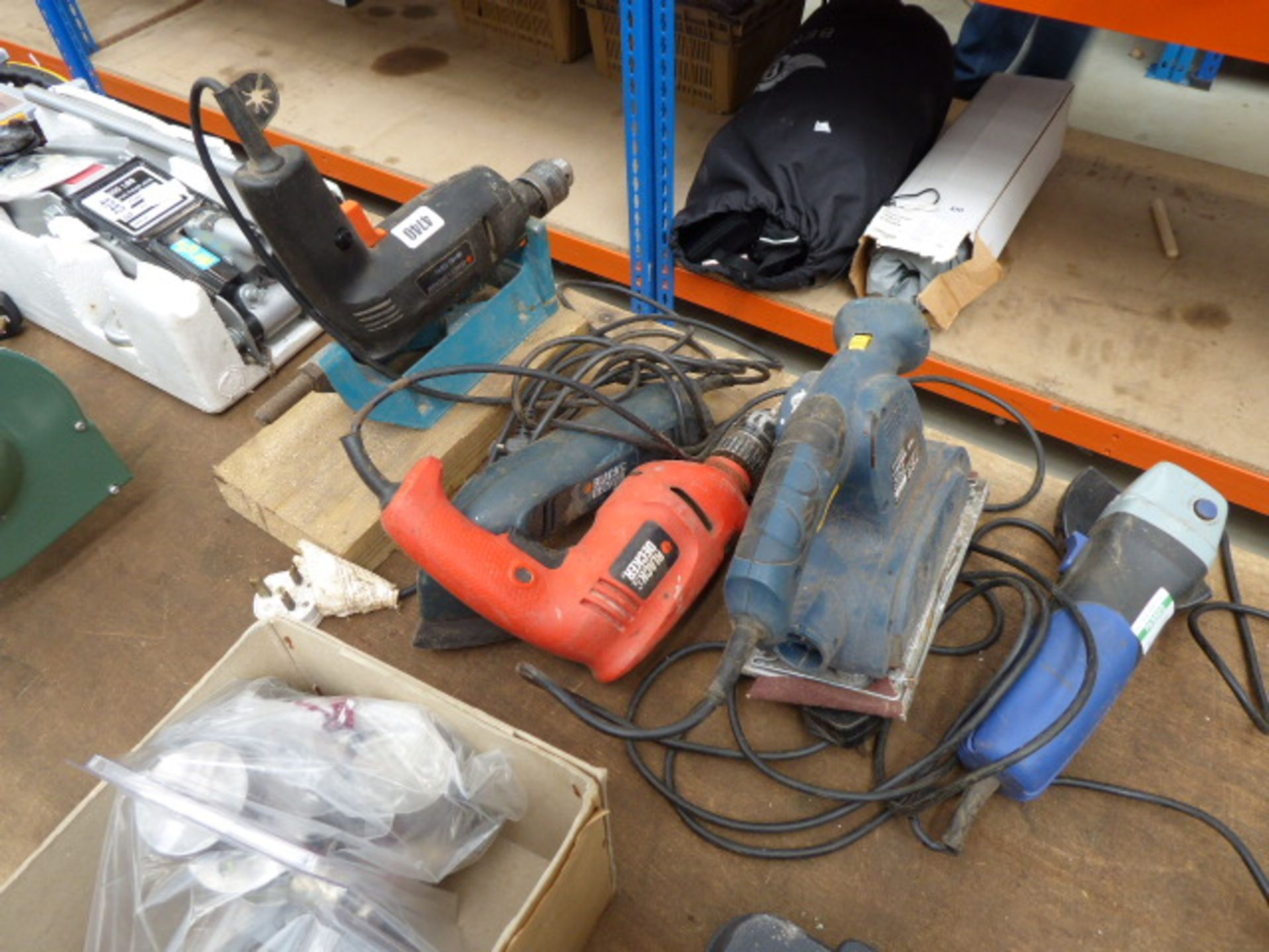 Lot 4740 - Two drills, two sanders and an angle grinder