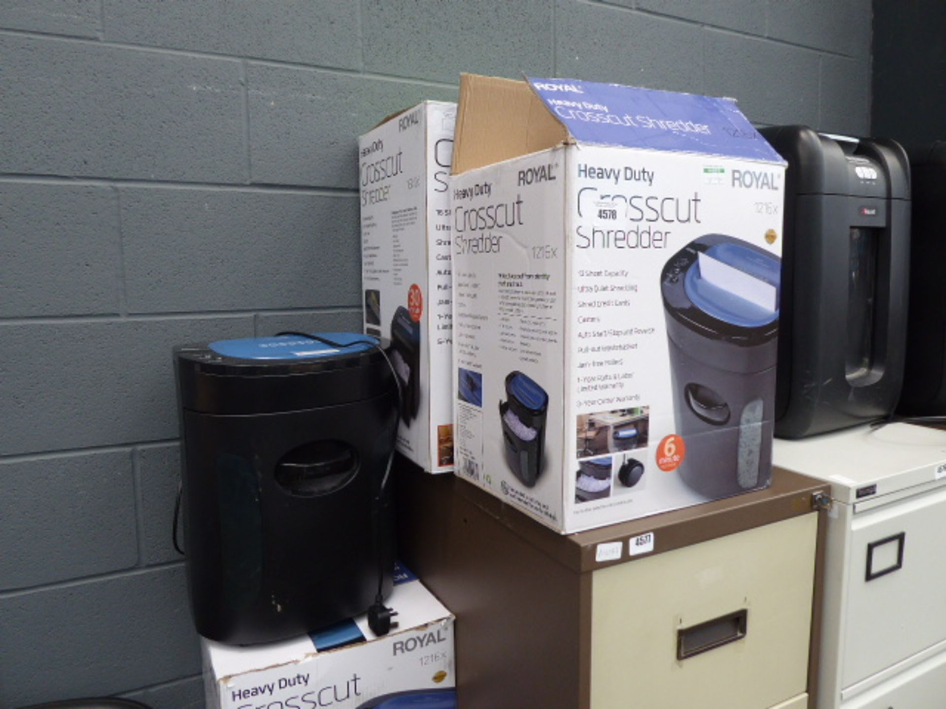 Lot 4578 - 3 boxed and another unboxed Royal paper shredders
