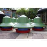 12 x Manola Feeder Outdoor feeders with green top hat covers by Quill Productions