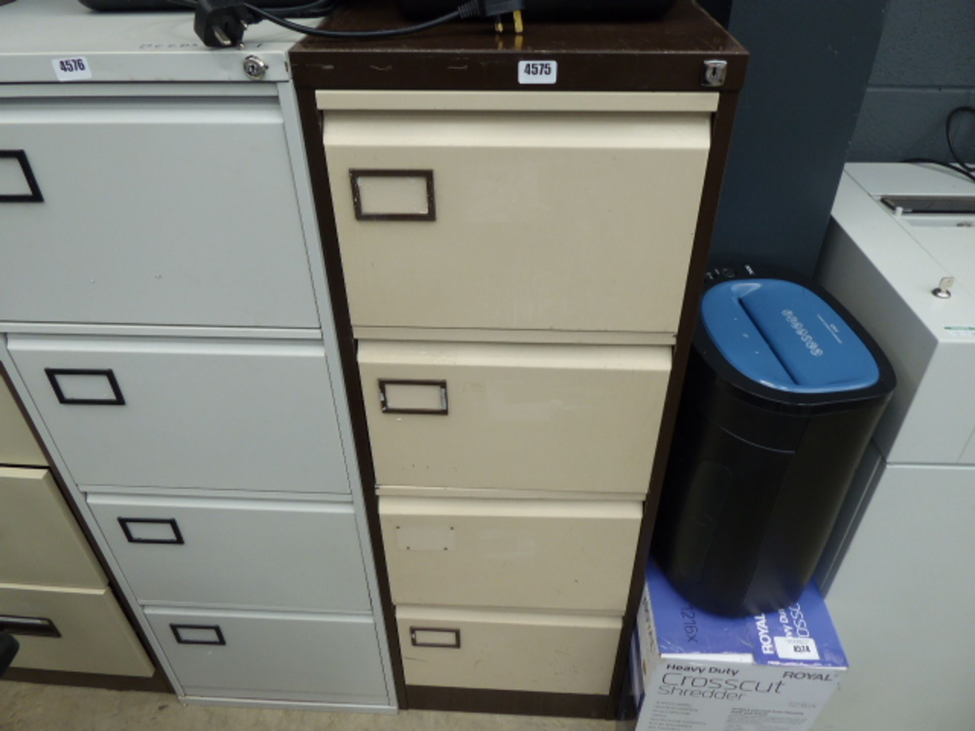 Lot 4575 - Coffee and cream metal 4 drawer filing cabinet