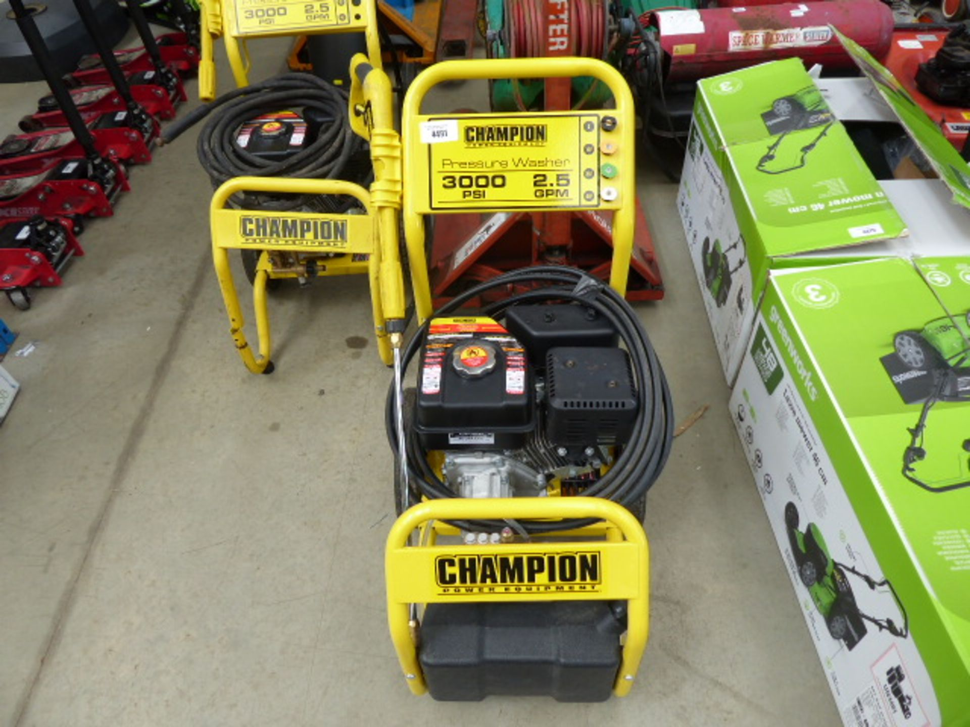 Lot 4491 - Champion petrol powered pressure washer with lance and hose
