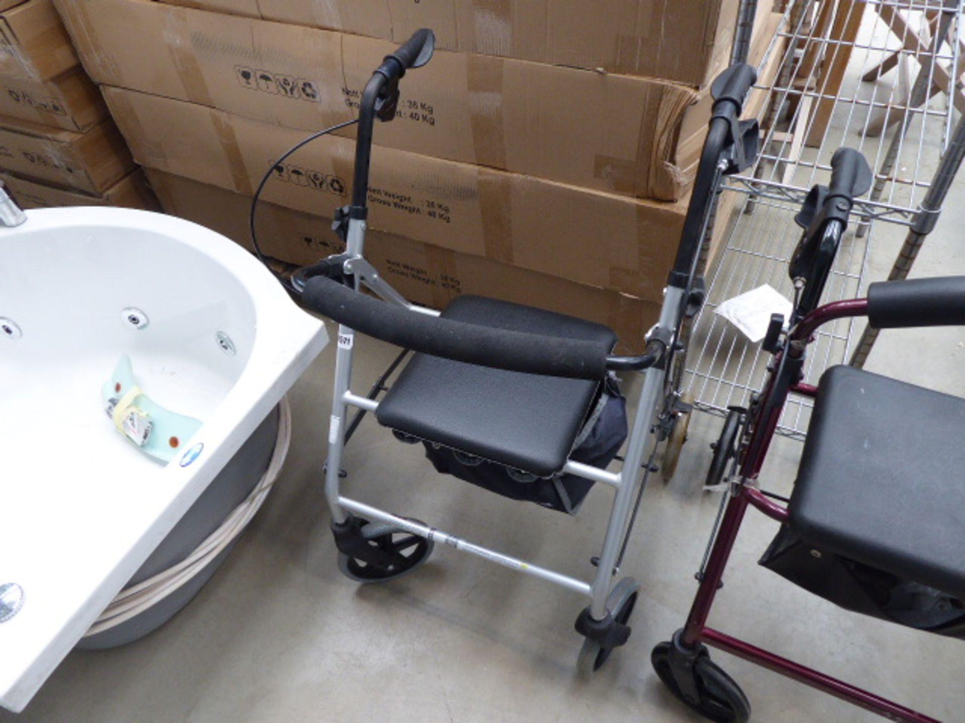 Lot 4571 - 4264 - Silver 4 wheel mobility walking aid