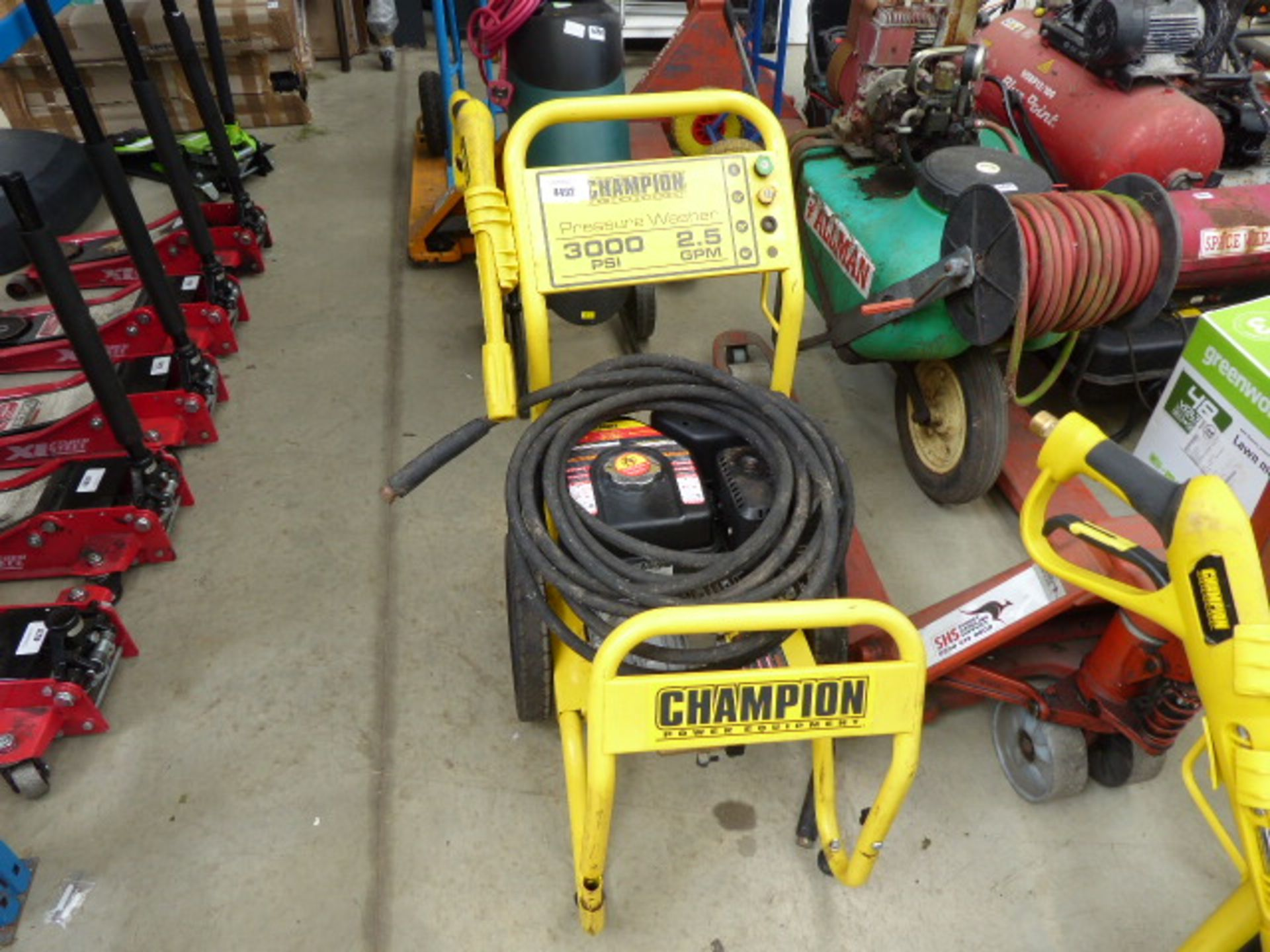 Lot 4492 - Champion petrol powered pressure washer with part lance and hose