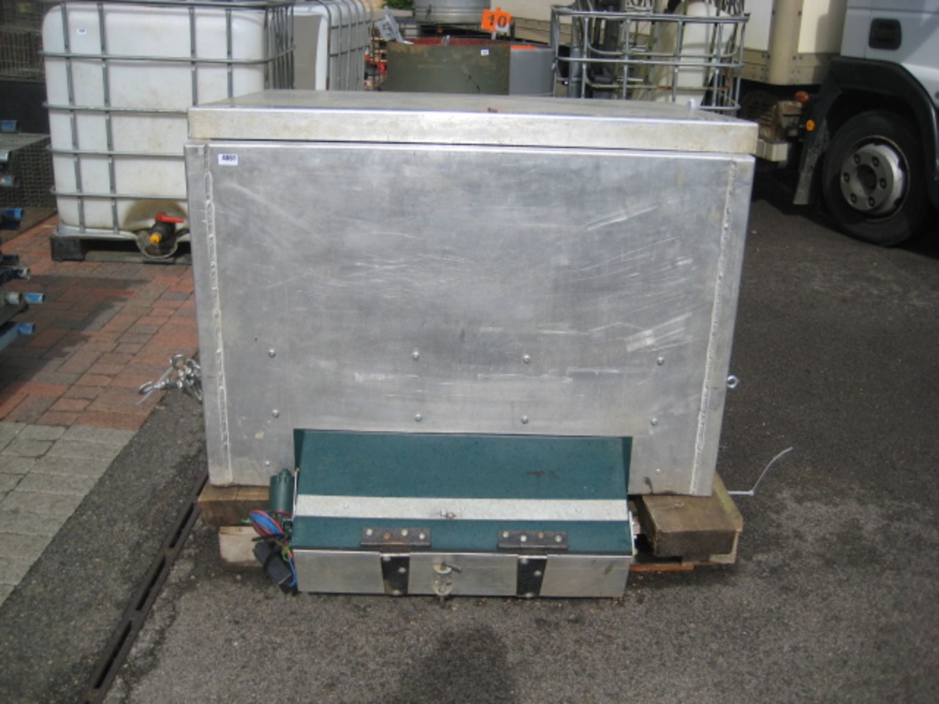 Lot 4061 - ATV mounted aluminium body powered feed spreader, 200kg capacity (adapted from Quill Productions)