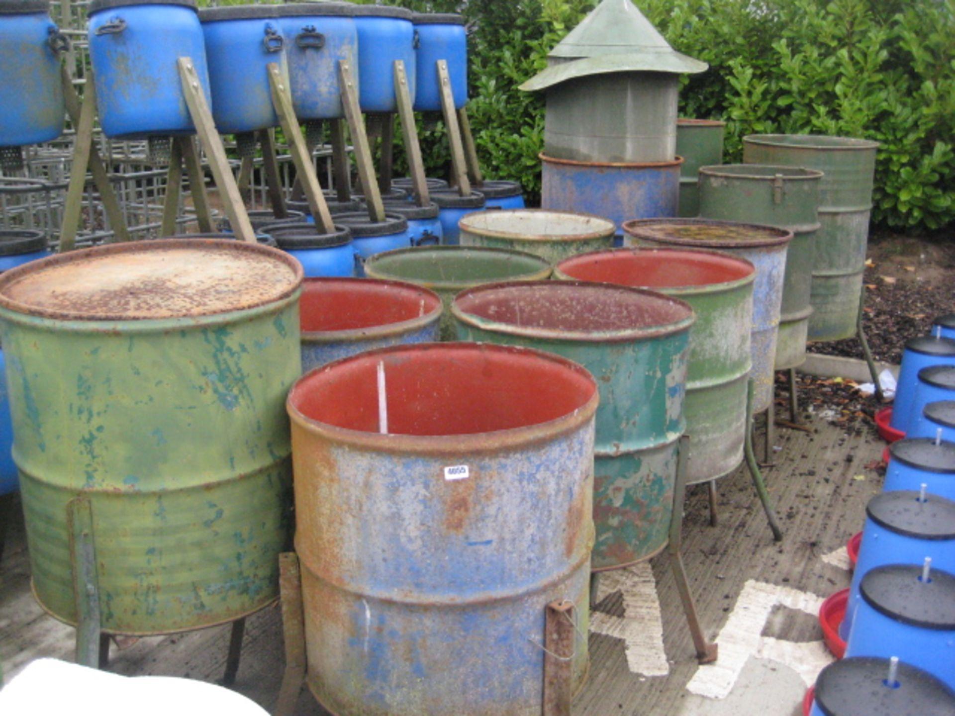 Lot 4055 - 12 x steel drum Pheasant feeders