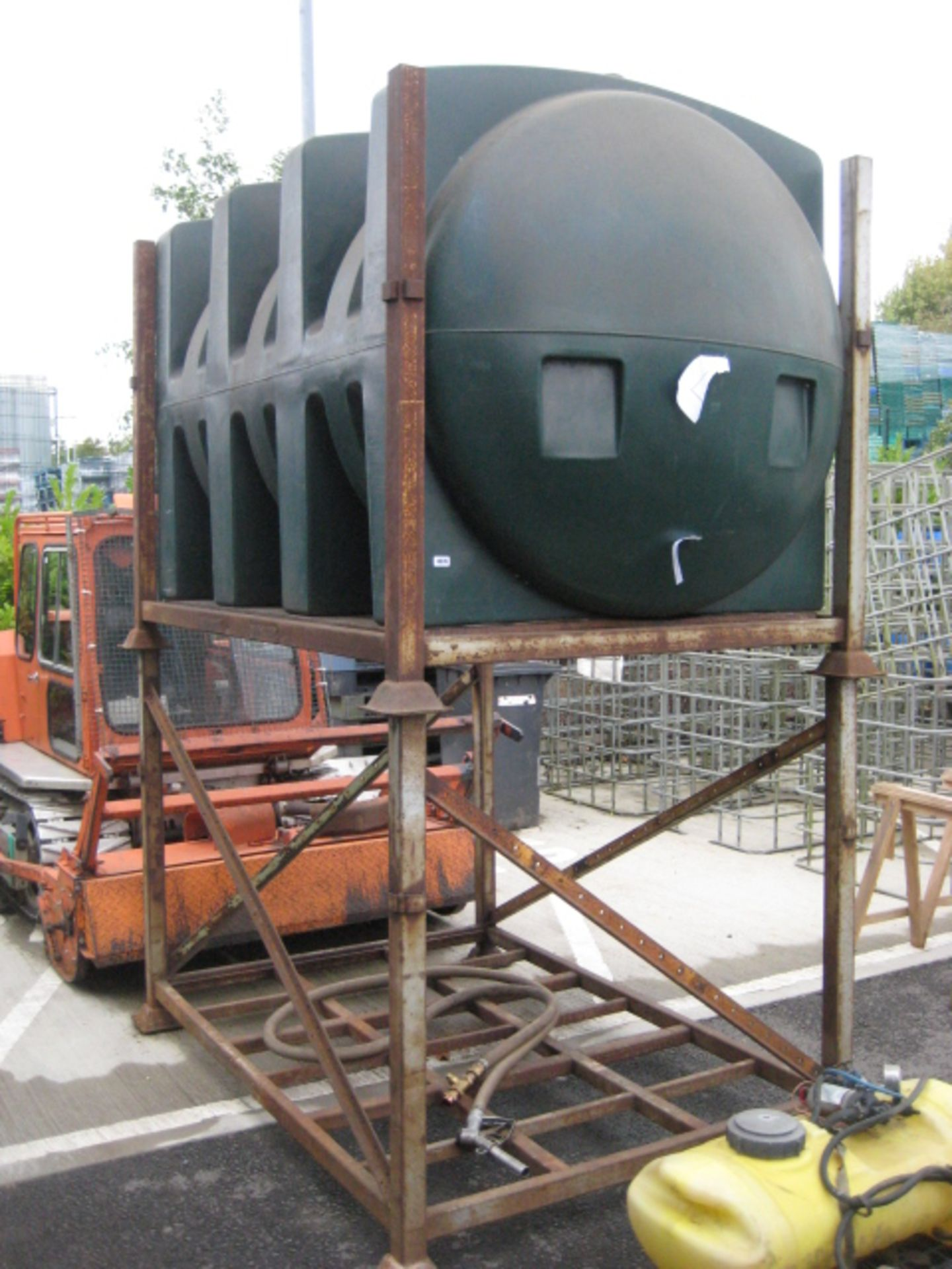 Lot 4076 - 2000 litre (approx.) GRP plastic diesel tank on 2 stage metal frame with hose and dispenser gun