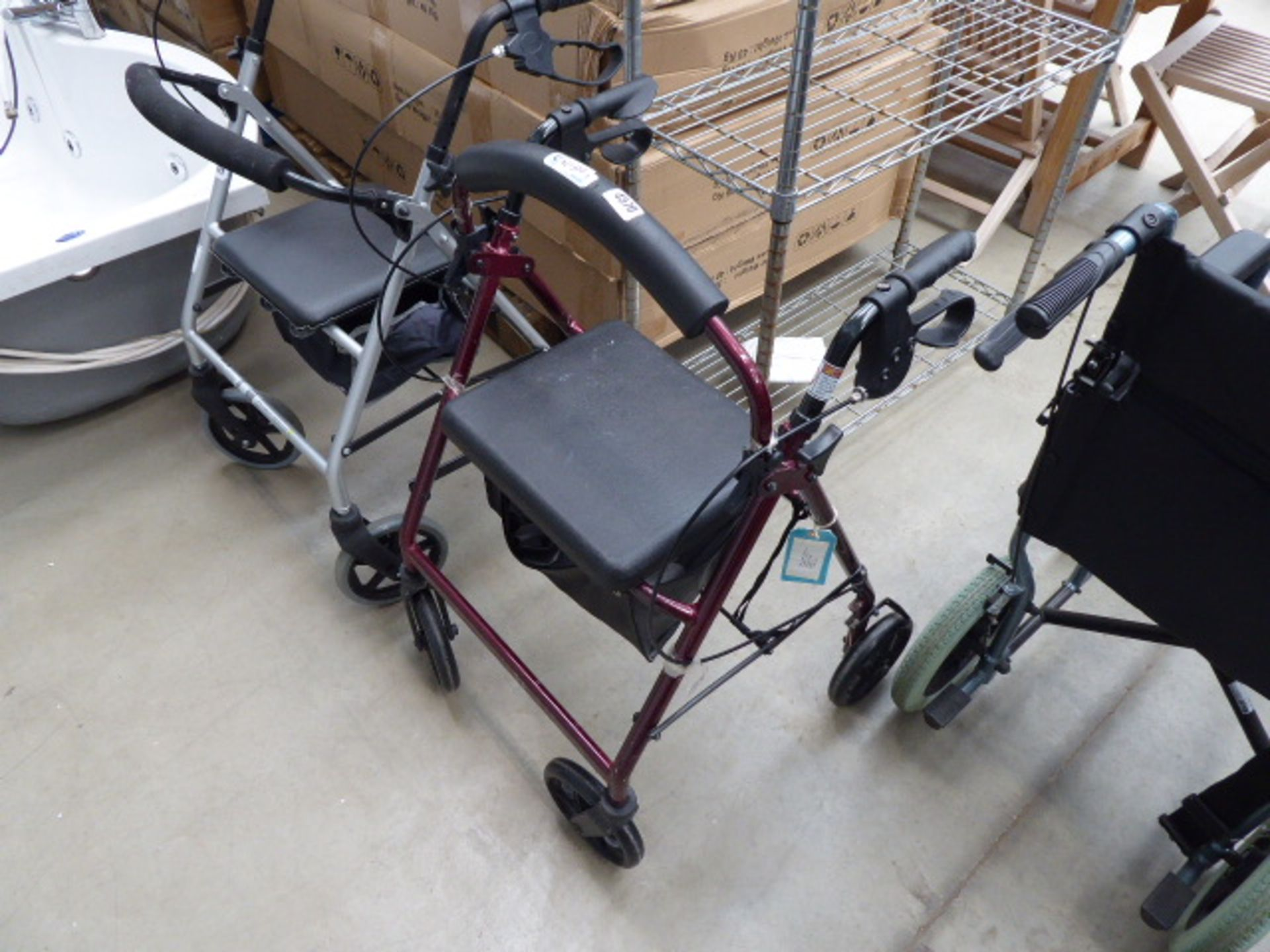 Red mobility walking aid